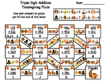Triple Digit Addition With and Without Regrouping Thanksgiving Math Maze