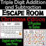 Triple Digit Addition and Subtraction Game: Math Escape Room Christmas