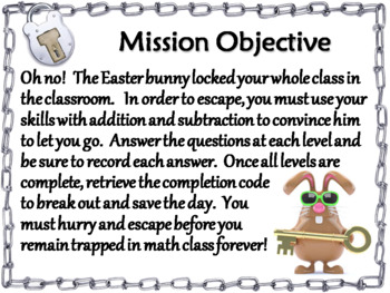 Triple Digit Addition and Subtraction Game: Math Escape Room Easter
