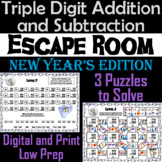 Triple Digit Addition and Subtraction Game: Math Escape Room New Year's