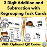 Three Digit Addition and Subtraction Task Cards with Optio