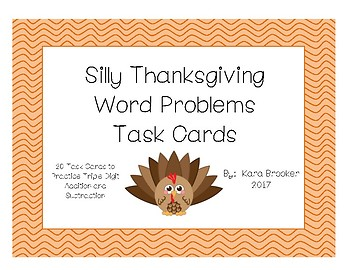 Triple Digit Addition and Subtraction Word Problems - Thanksgiving