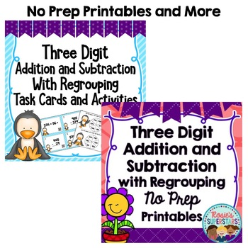 Three Digit Addition and Subtraction with Regrouping Activities Bundle