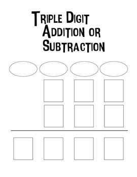 Triple Digit Addition or Subtraction Worksheets - Blank Worksheets
