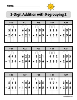 Triple Digit Addition with Regrouping Worksheets by Second ...