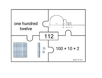 Triple Digit Number Recognition Puzzles with Number Lines