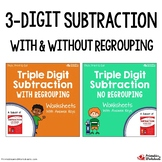 Three Digit Subtraction Center, With And Without Regrouping Worksheets
