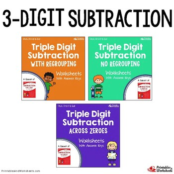 Subtraction Across Zeros Worksheet Teaching Resources  Teachers Pay