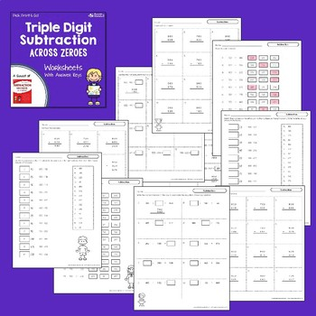 Triple Digit Subtraction Worksheets With Regrouping, No Borrowing, With Zeros