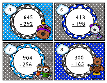 Triple-Digit Subtraction Scoot with Regrouping Winter