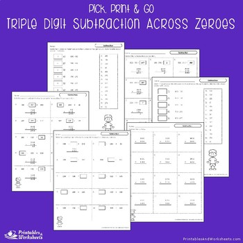 Triple Digit Subtraction With Zeroes Worksheets