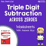 Triple Digit Subtraction With Zeroes Regrouping Worksheets