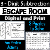 Triple Digit Subtraction With and Without Regrouping Game: Escape Room Math