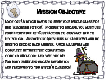 Triple Digit Subtraction With and Without Regrouping Game: Halloween Escape Room