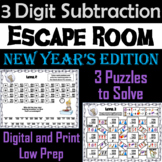 Triple Digit Subtraction With and Without Regrouping: New Year's Escape Room