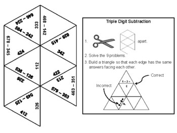Triple Digit Subtraction Without Regrouping Game: Math Tarsia Puzzle