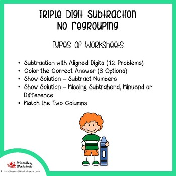 Triple Digit Subtraction Without Regrouping Worksheets