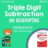 Subtraction: 3-Digit Without Regrouping Worksheets