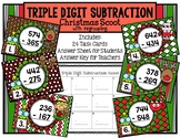 Triple Digit Subtraction with Regrouping Christmas Scoot