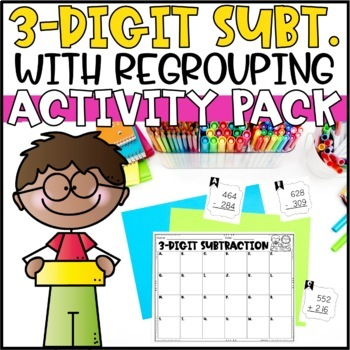 Triple Digit Subtraction Activities - Task Cards, Word Problems & Partner Game