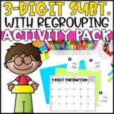 Triple Digit Subtraction with Regrouping - Task Cards, Word Problems & Game