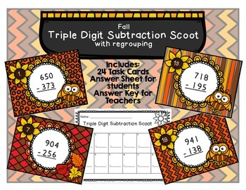 Subtraction Scoot Three-Digit Numbers with Regrouping Fall