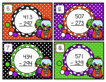 Triple-Digit Subtraction with Regrouping Scoot Halloween