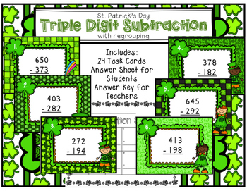 Triple Digit Subtraction with Regrouping Scoot St. Patrick's Day