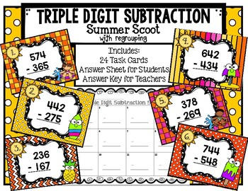 Triple Digit Subtraction with Regrouping Summer Scoot