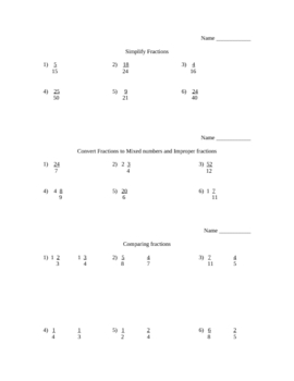 Triple Fractions Handouts