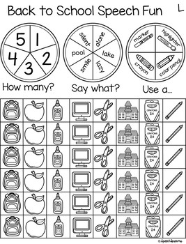 Triple Fun Back to School Speech Therapy Spinning Activity {articulation}