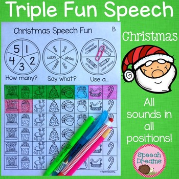 Triple Fun Christmas Speech Therapy Spinning Activity {articulation}