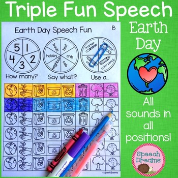 Triple Fun Earth Day Speech Therapy Spinning Activity {articulation}