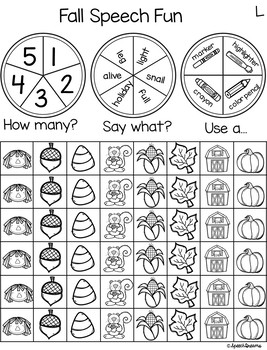 Triple Fun Fall Speech Therapy Spinning Activity {articulation}