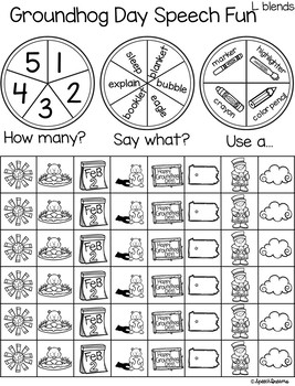 Triple Fun Groundhog Day Speech Therapy Spinning Activity {articulation}