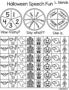 Triple Fun Halloween Speech Therapy Spinning Activity {articulation}