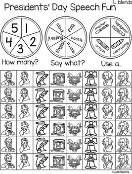 Triple Fun Presidents' Day Speech Therapy Spinning Activity {articulation}