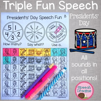 Triple Fun Presidents' Day Speech Therapy Spinning Activity #presidentsale