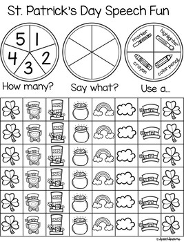 Triple Fun St. Patrick's Day Speech Therapy Spinning Activity {articulation}
