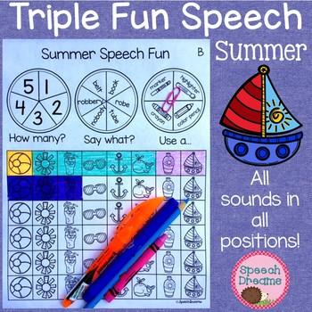 Triple Fun Summer Speech Therapy Spinning Activity {articulation}