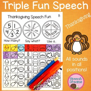 Triple Fun Thanksgiving Speech Therapy Spinning Activity {articulation}