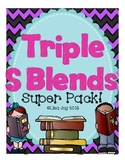 Triple S Blends Super Pack!  Activities for SCR, SPL, SPR, SHR, SQU and STR!