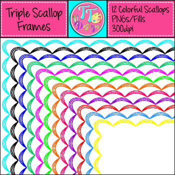 Triple Scallop Color Frames Clip Art CU OK