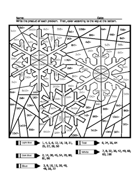 Triple Snowflake Multiplication Coloring Sheet