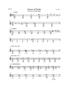 """Triple Stop Exercise for String Orchestra """"Queen of Scots"""" Sheet Music"""