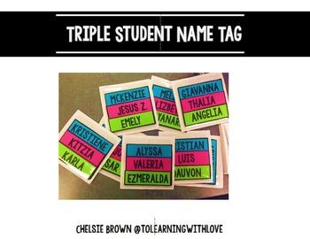 Triple Student Name Tags