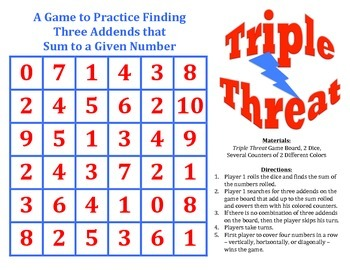 Triple Threat - A Game to Practice Finding Three Addends for a Given Sum