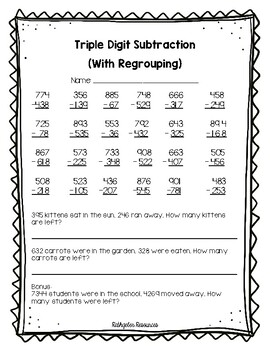 Triple digit subtraction with regrouping assessment