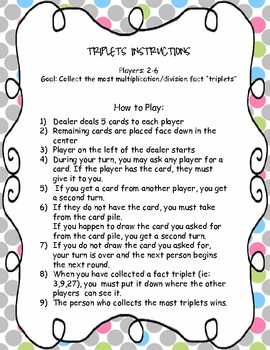 """Triplets: A Multiplication and Division """"Go Fish"""""""