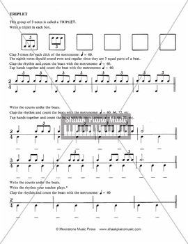 Triplets in Music; worksheets and exercises from the Shaak Music Studio